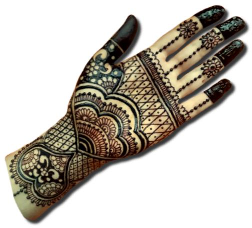 Heart Mehndi Designs for Front Hand