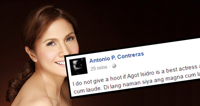 Political science professor lambasts Agot: I don't care if you are a best actress awardee