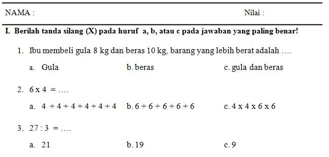 Soal Matematika Sd Untuk Ukk Sem 2 Genap Ktsp Berkas