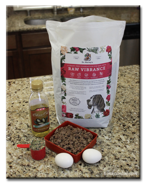 Raw Vibrance base mix, ground beef, eggs and oil