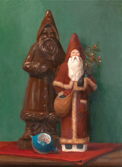 christmas art, santa art, oil painting