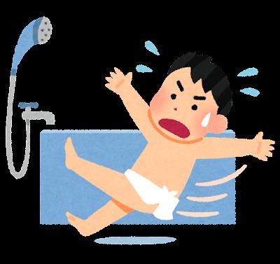 お風呂での転倒のイラスト