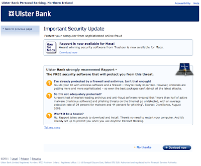 Ulster Bank electronic banking screen with 'Dowload' spelling mistake