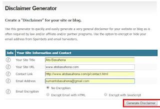 Cara Mudah Membuat Disclaimer Untuk Blog
