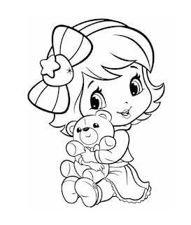 desenho de moranguinho com ursinho de pelucia para pintar