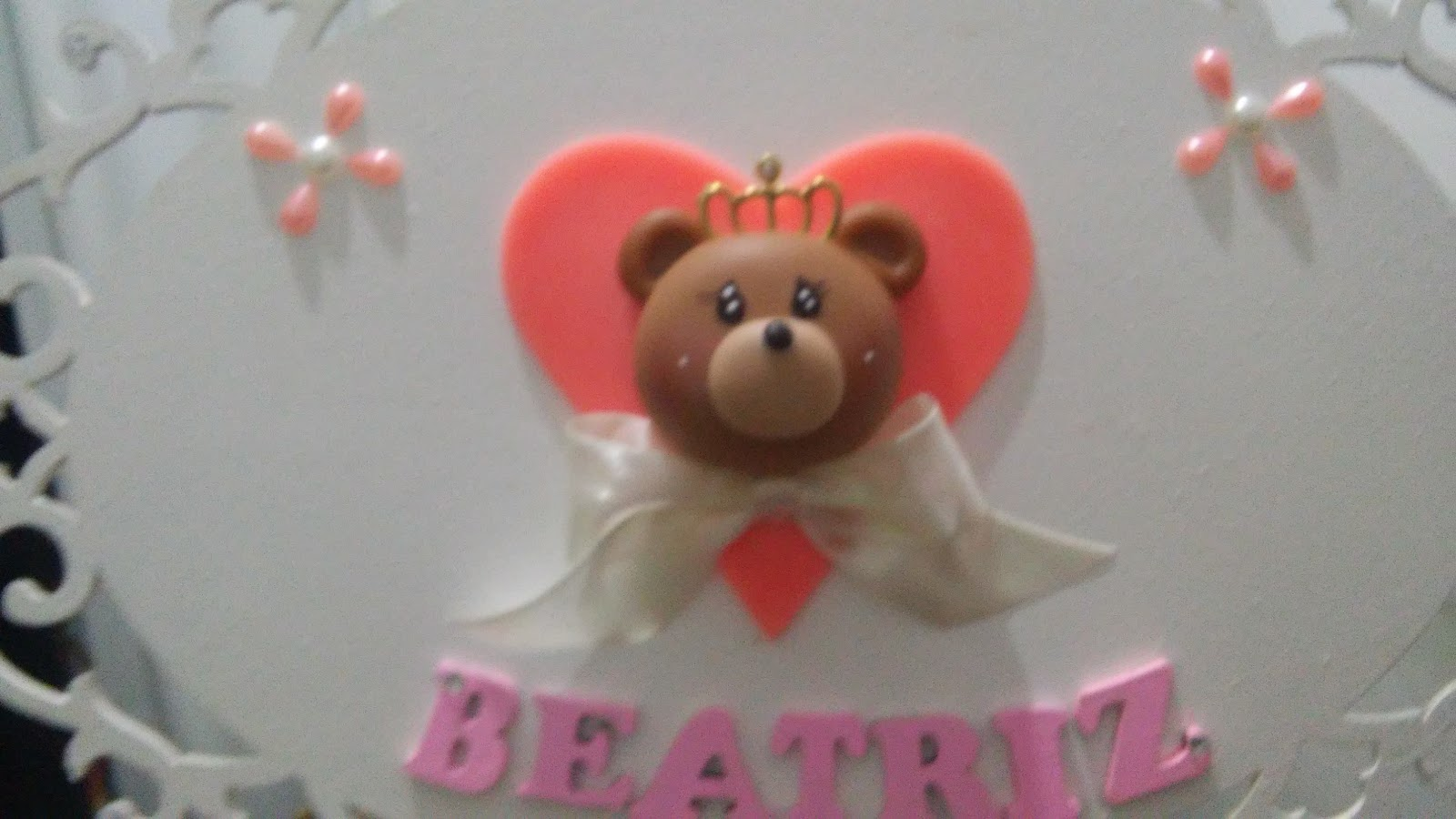 Aparador Clock Oppa ~ Biscuí Enfeites Noivinhos e lembrancinhas em Biscuit quadro de maternidade urso com coroa