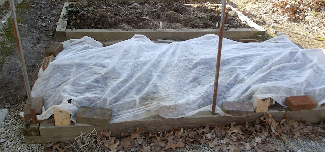 Raised Garden Bed Covered with Spun Bond Fabric