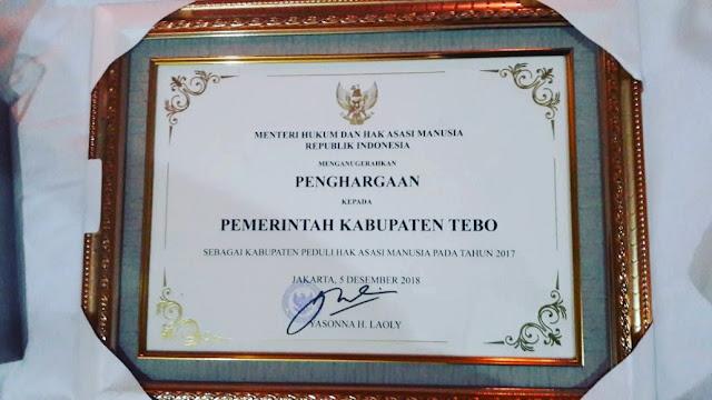 Kabupaten Tebo Dapatkan Penghargaan Peduli HAM Dari Kemenkumham-RI