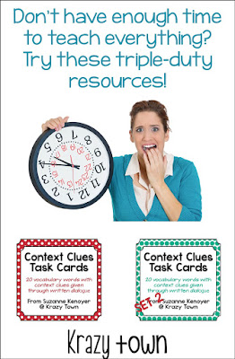 Triple duty resources help you make the most of your classroom time. Incorporate vocabulary, dialog, and context clues in one resource!