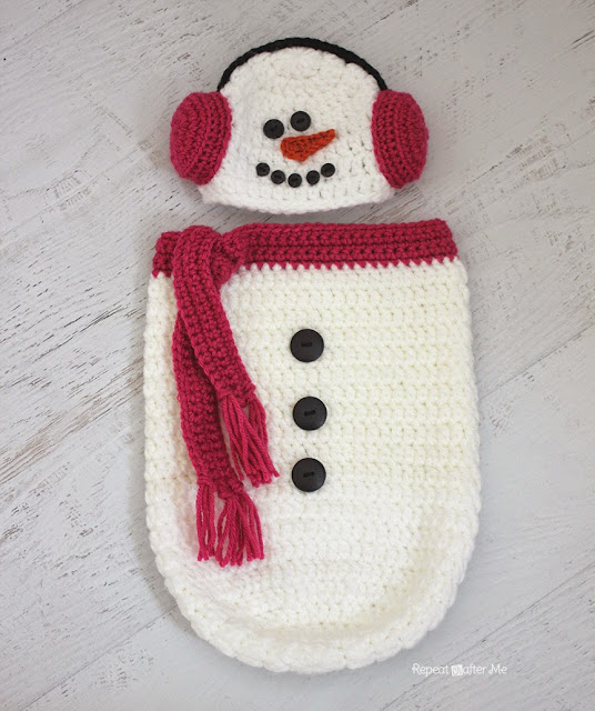 Crochet Free Pattern Muff : Crochet Snowman Ear Muff Hat and Cocoon Repeat Crafter ...