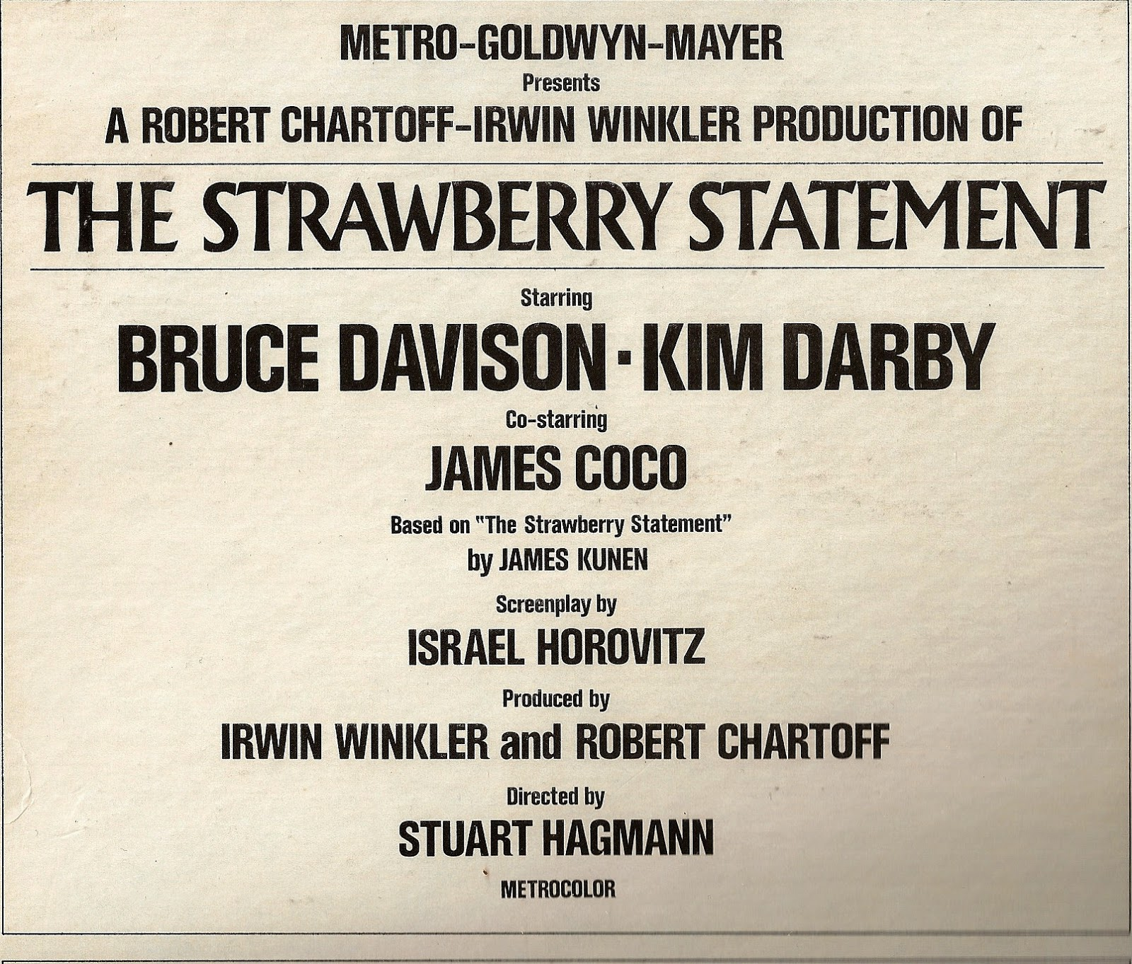 Urban Aspirines The Strawberry Statement O S T 1970