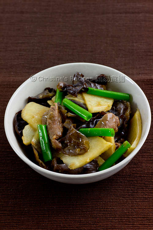 沙葛炒雲耳牛肉 Stir-Fried Yam Bean with Beef and Cloud Ears01