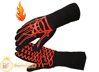 Immortal Oven Mitts by LauKindom, Great Heat Resistant Cooking Gloves, Extended for Extra Forearm Protection