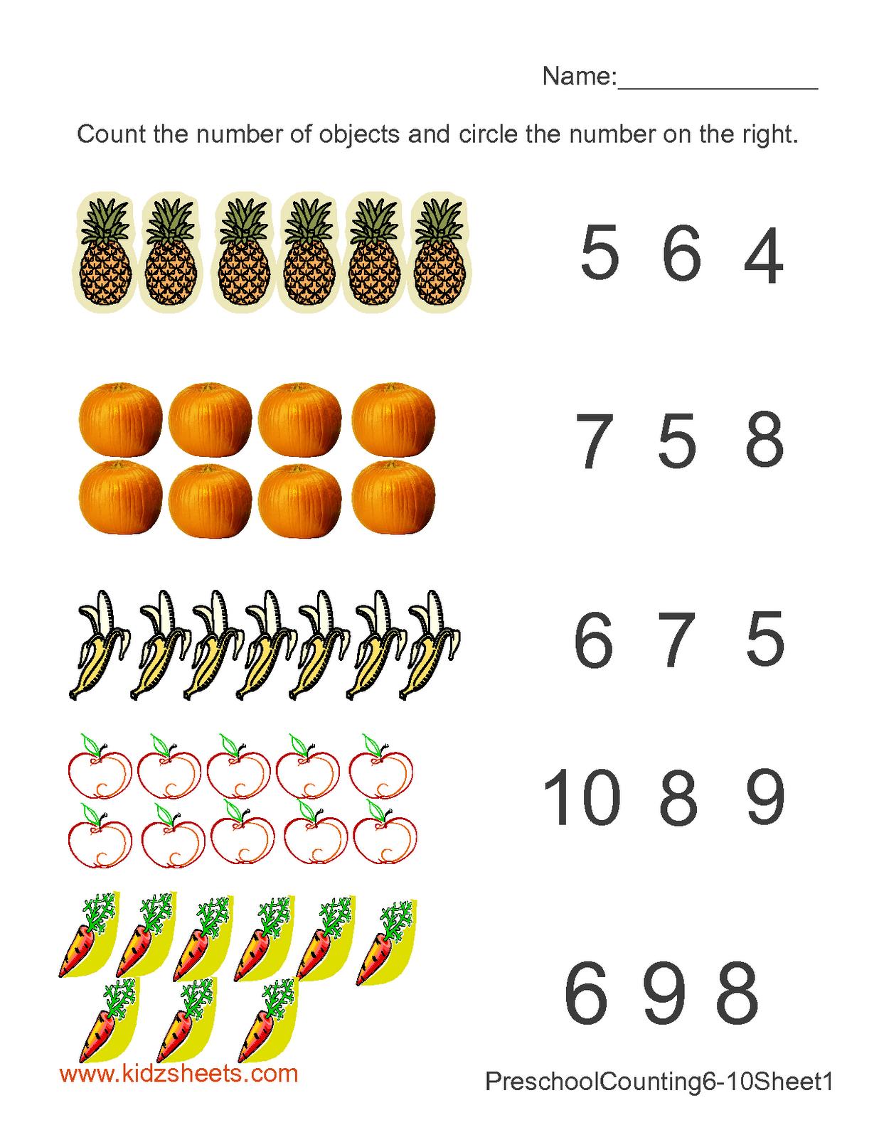 Kidz Worksheets: Preschool Counting Numbers Worksheet1