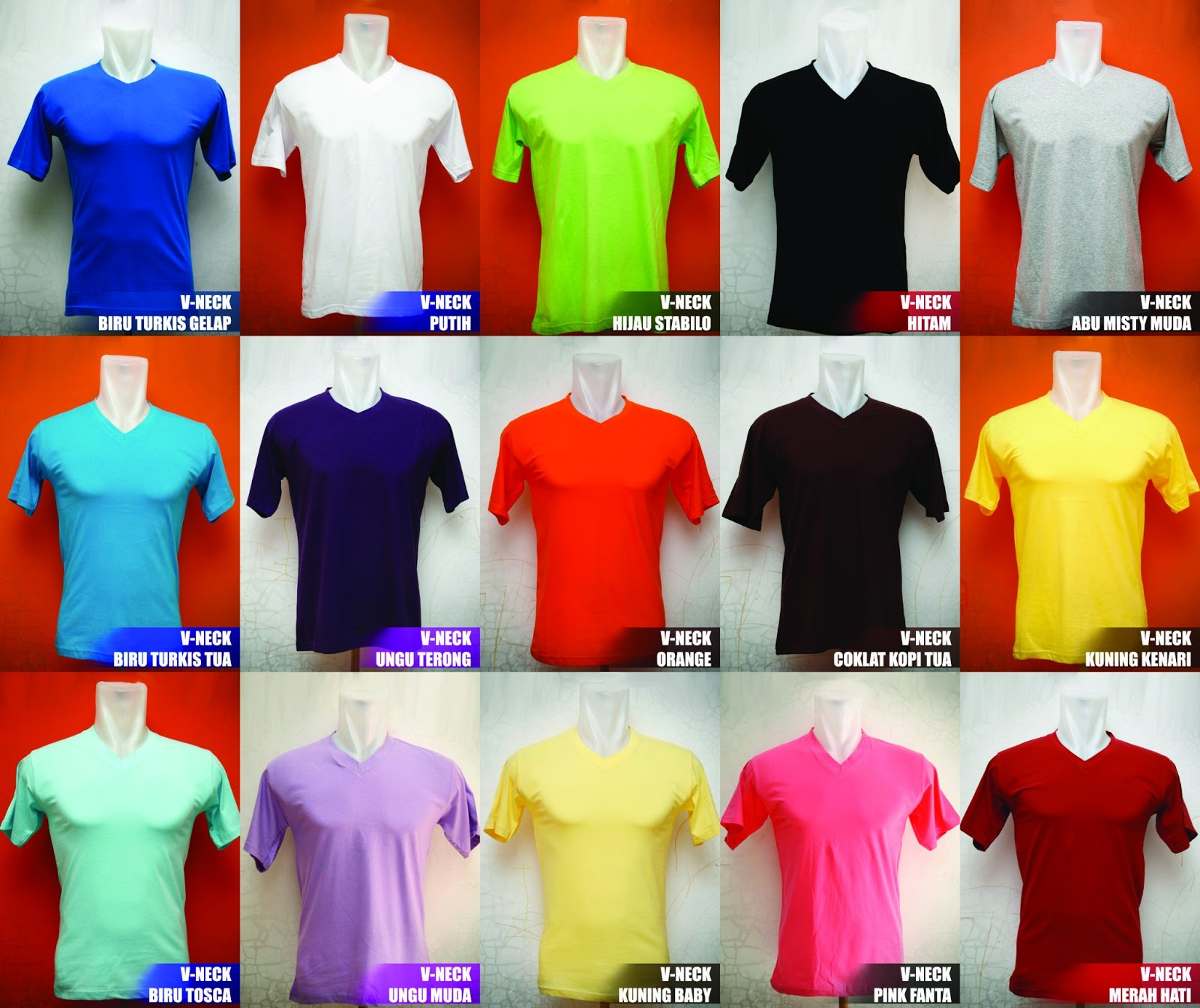 Kaos Polos Cowok Imissu Vendor Red Misty V Neck