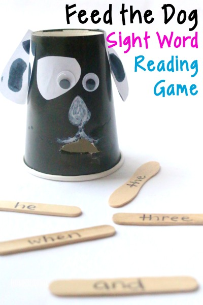 Feed the Dog Sight Word Game - such a fun, clever, hands on sight words game to help kids in preschool, kindergarten, first grade, and 2nd grade practice dolch sight words