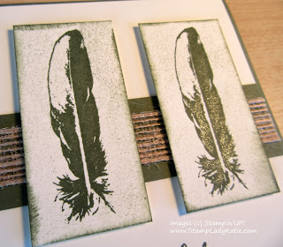 Close-up of the sponging on a Card with a trio of feathers  made with Stampin'UP!'s Feather Together stamp set
