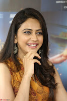 Rakul Preet Singh smiling Beautyin Brown Deep neck Sleeveless Gown at her interview 2.8.17 ~  Exclusive Celebrities Galleries 179.JPG