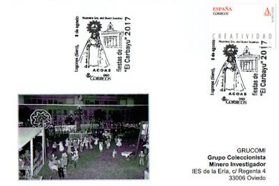 Tarjeta con el matasellos de las fiestas del Carbayu de Lugones, Siero