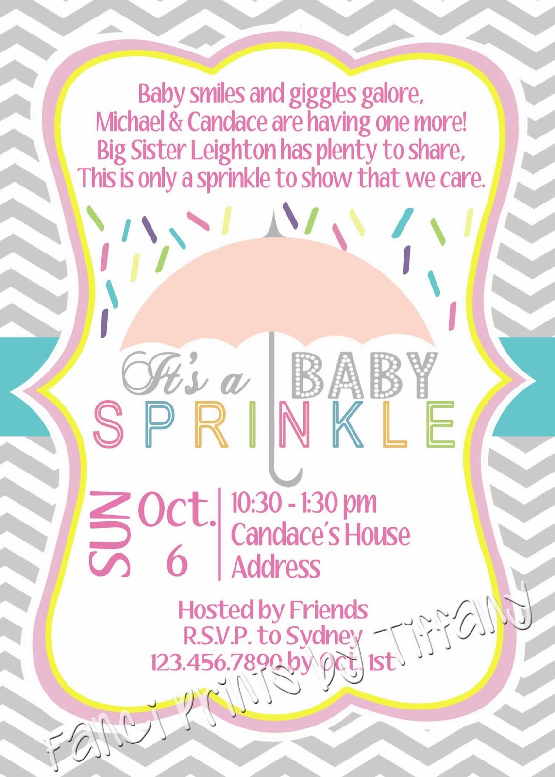 Fanci Prints by Tiffany Baby Sprinkle Invitation
