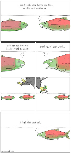 amusing comic about a bird catching some fishes girlfriend