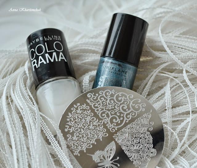 Маникюр Снегурочки или дуэт Oriflame Power Shine Palladium Blue Iridescence и Maybelline Colo Rama # 51