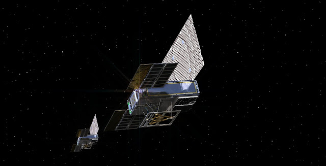 An artist's rendering of the twin Mars Cube One (MarCO) spacecraft as they fly through deep space. Credit: NASA/JPL-Caltech