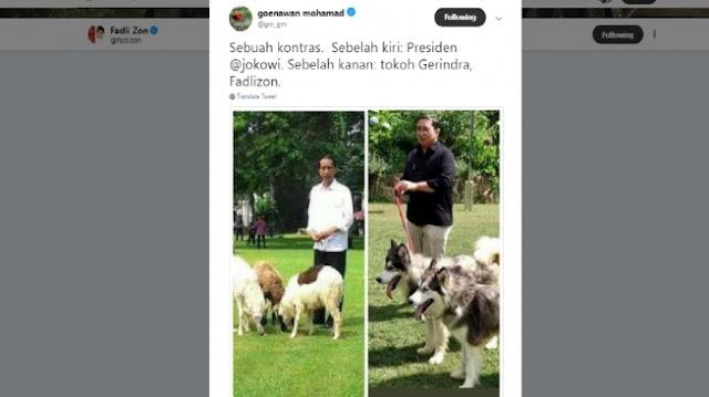 Emang Kontras Banget Ya! Sindiran Menohok Sastrawan Gunawan Muhammad Pajang Foto Jokowi dan Fadli Zon Lagi...