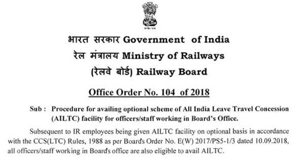 Procedure for availing optional scheme of All India Leave Travel Concession (AILTC) facility for officers/staff working in Board's Office.