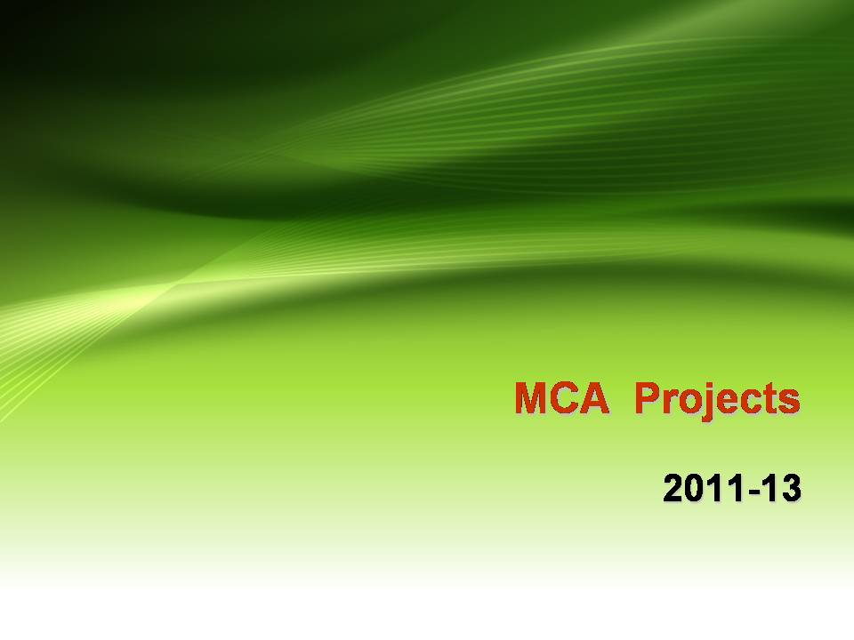 vvnk: MCA Projects