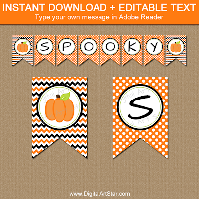 pumpkin banner printable for halloween party decorations