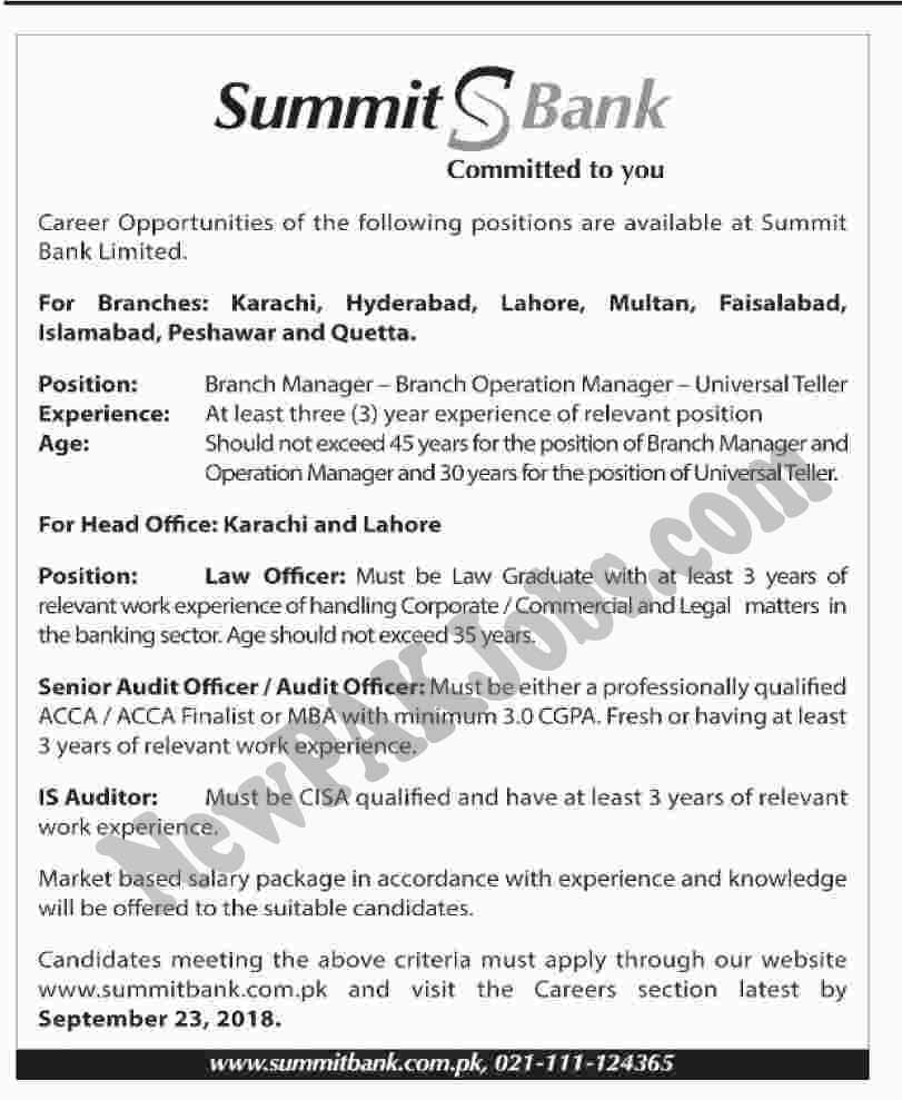 Latest Jobs in Summit Bank Limited in Multiple Cities