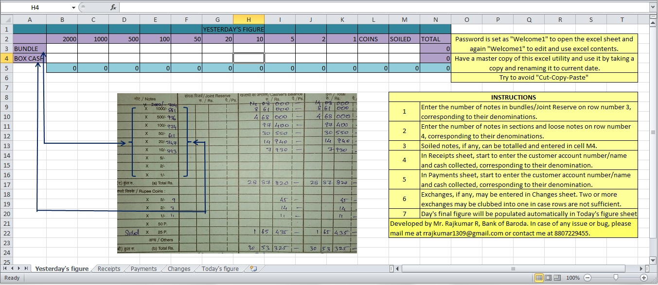 Banking Finance Technology Cash Tally Master Simple Excel Utility To Tally Cash In Banks