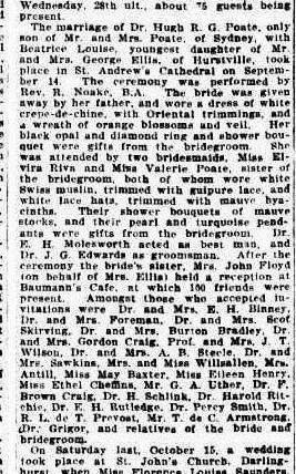 Long extract from Sydney Morning Herald describing in detail the marriage of Dr Hugh R G Poate and Beatrice Louise Ellis including guests