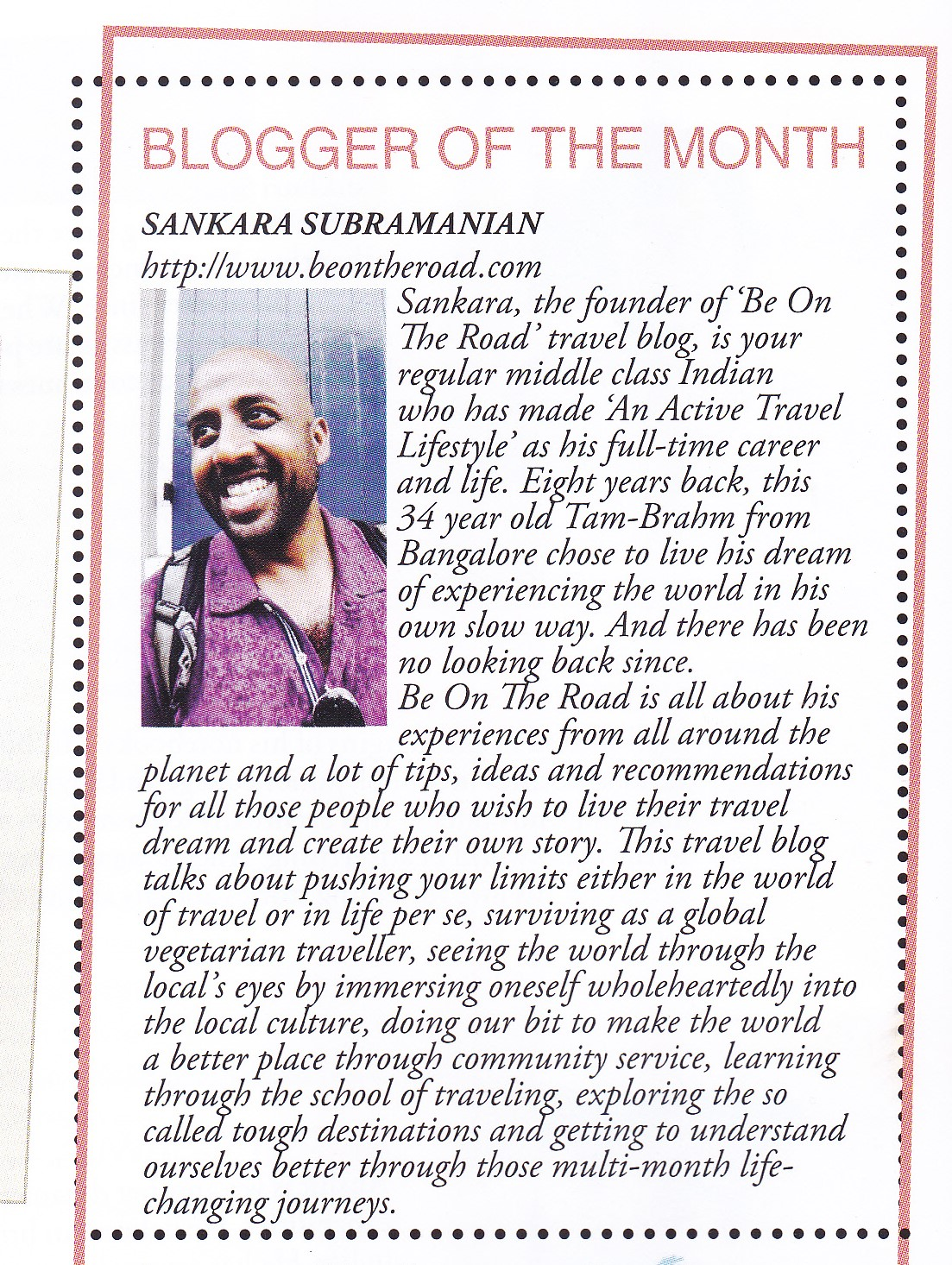Blogger of the Month - Sankara Subramanian - Youth Incorporated Magazine
