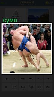 На арене происходит борьба сумо, один другого заваливает в сторону