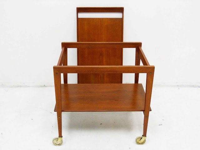 Danish Modern Teak Serving Bar Cart Tove and Edvard Kindt-Larsen Removeable Tray