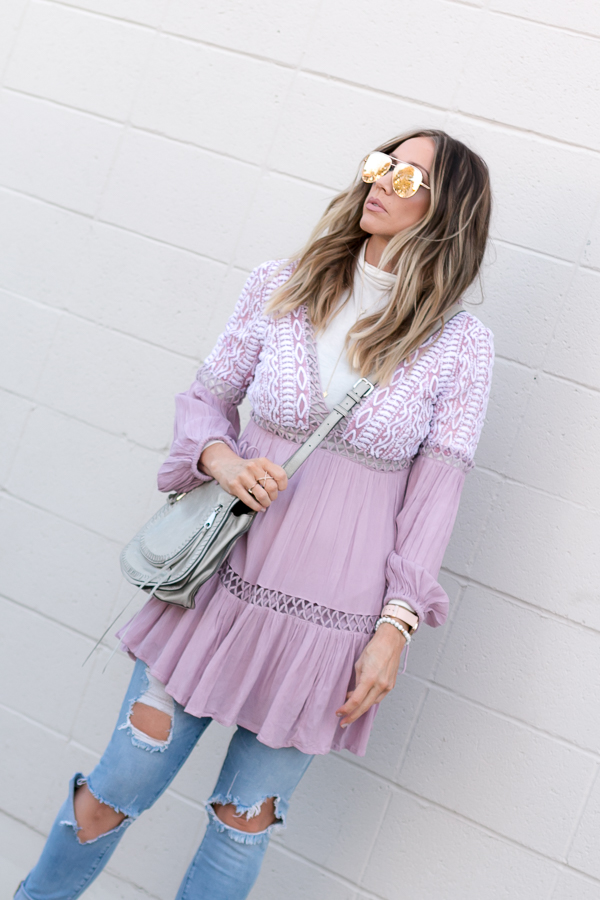 layered spring dress with turtleneck