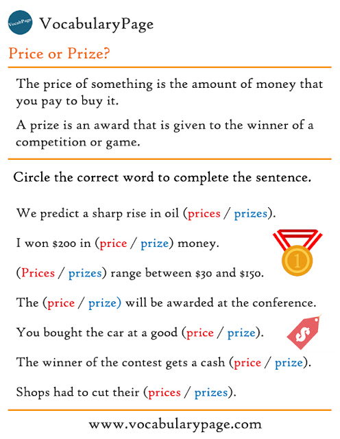 Price vs Prize Worksheet