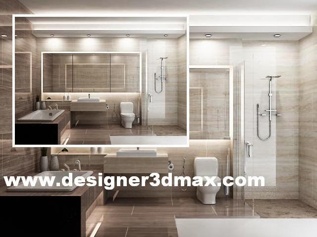 Desain kamar mandi bathup minimalis modern nuansa coklat ...