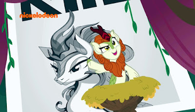 Autumn Blaze speaking from a rostrum, with a Citizen Kane-style poster behind