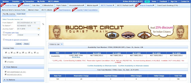 current booking IRCTC