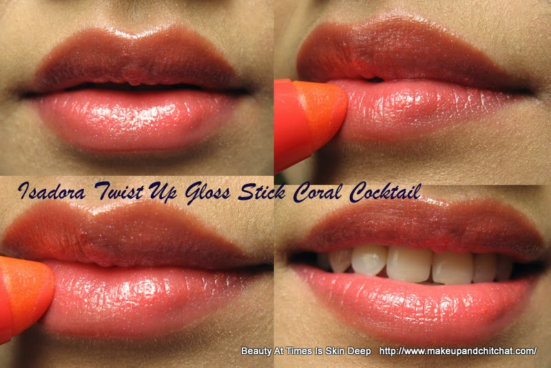 Swatch of Isadora Twist Up Gloss Sticks Coral Cocktail| Isadora Twist Up Gloss Stick Coral Cocktail for medium skin tone