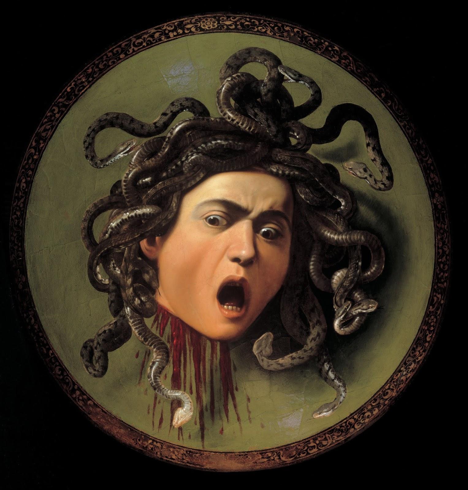 2. Cabeça de Medusa (1598) - De expressão aterradora, traz a cabeça decepada e ainda sangrando da personagem mitológica.
