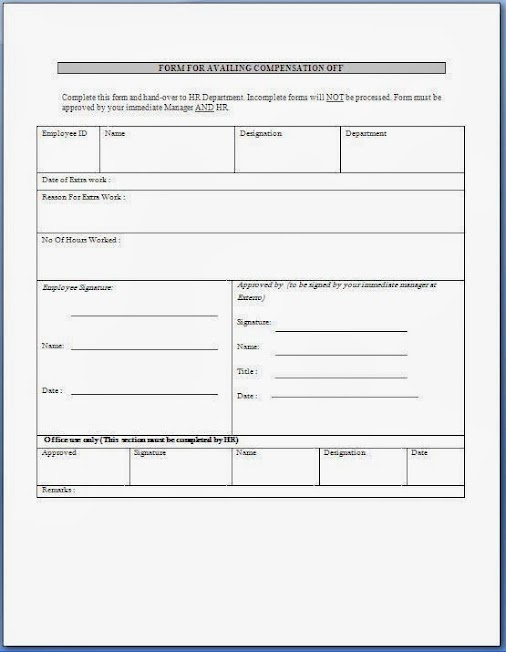 Compensatory leave format sample template example of companys hr compensatory leave format sample template example of companys hr employee c spiritdancerdesigns Gallery