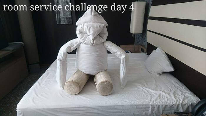 Bored Business Traveler 'Challenges' His Housekeeper In A Funny And Creative Way - Followed by this
