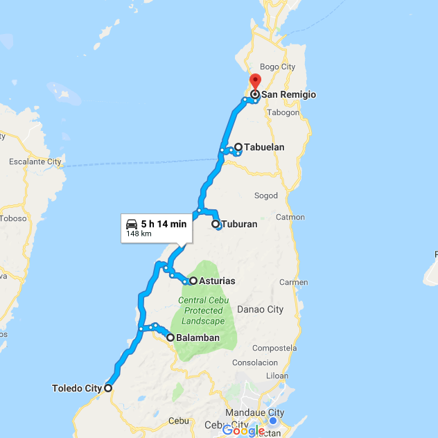 Our Northwestern Cebu Route
