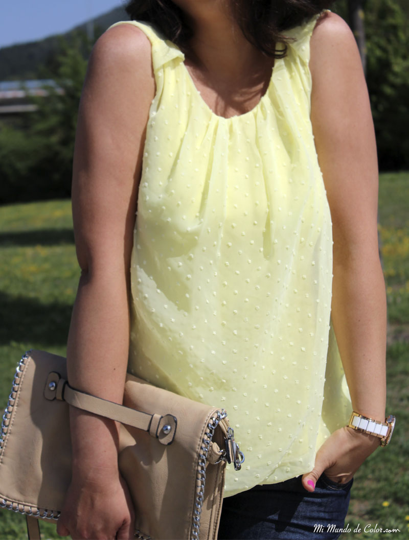 yellow blouse front gather