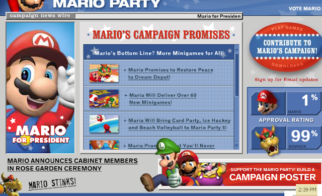Mario Party 5 campaign promises approval rating percent election poll Nintendo Bowser