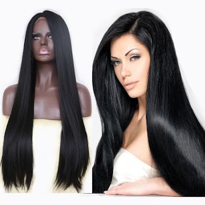 Sleek Black Middle Parting Lace Front Wig for African American Women -Price: $59.99